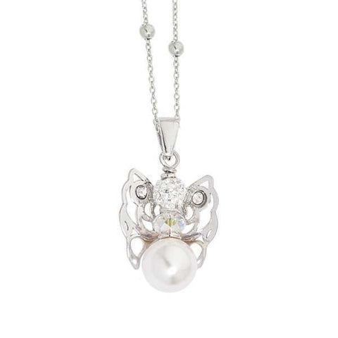 Necklace with Angelo mini, Swarovski and boule final white