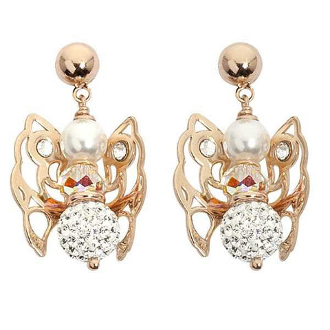 Earrings rosati with Angelo mini pendant, Swarovski light peach and final strass