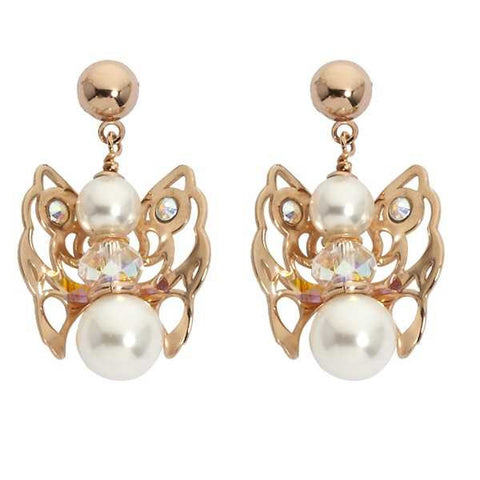 Earrings rosati with Angelo mini pendant, pearls and Swarovski Crystal