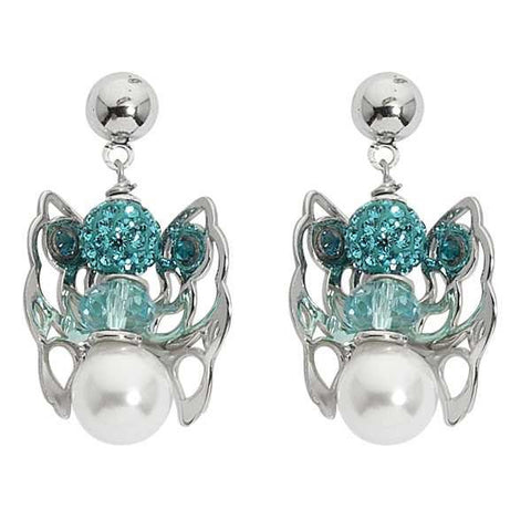 Earrings with Angelo mini pendant, rhinestones and beads and Swarovski crystal blue zircon
