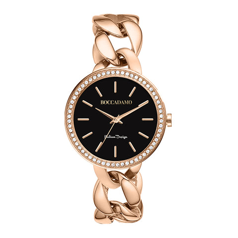 Related product : Ladies wristwatch with black dial, Swarovski and curb bracelet