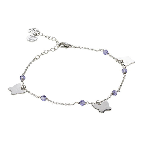 Related product : Ankle brace with Swarovski tanzanite and charms butterfly shape