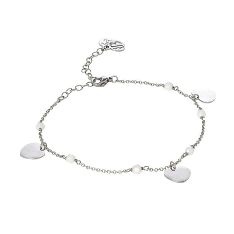 Related product : Ankle brace with Swarovski white alabaster and charms in the shape of a heart