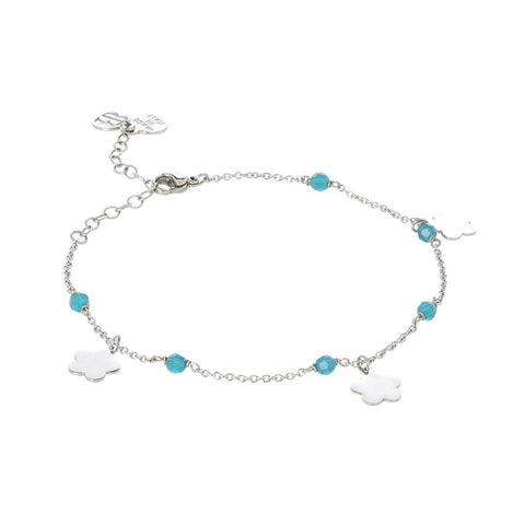 Related product : Ankle brace with Swarovski carribean blue opal  and charms in the form of a flower