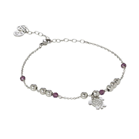 Related product : Ankle brace with Swarovski amethyst  and charm in the shape of a tortoise