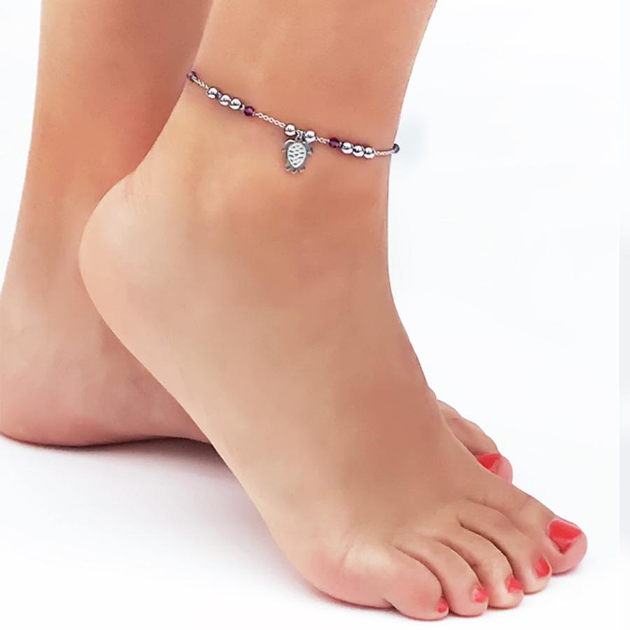 Ankle brace with Swarovski amethyst  and charm in the shape of a tortoise