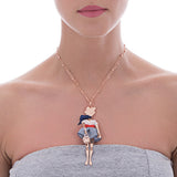 Necklace with little doll and Swarovski Crystals blue