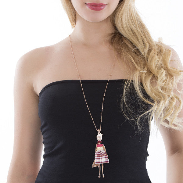 Necklace with little doll and Swarovski beads bordeaux