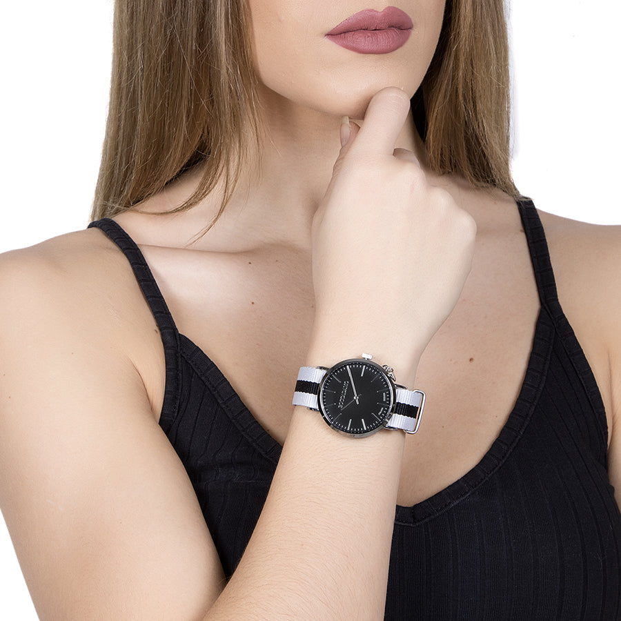 Ladies watch with black dial, side charm and Lanyard Nylon