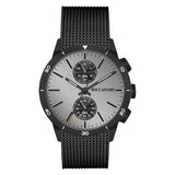 Watch chronograph with quadrant silver and black strap