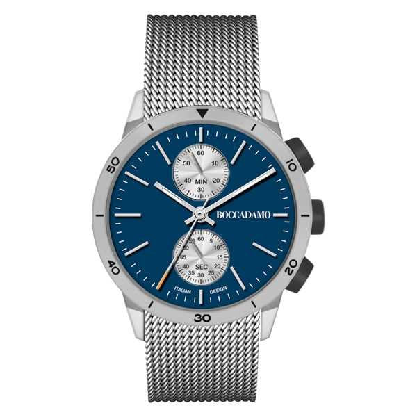 Watch chronograph with blue dial and gray strap