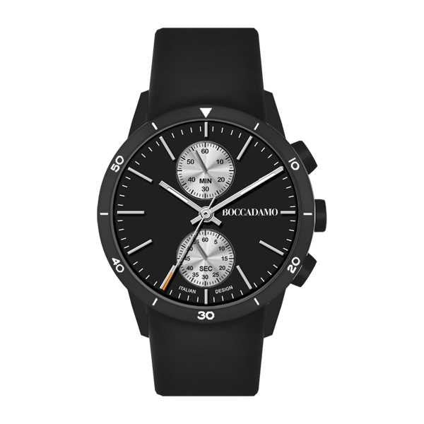 Watch chronograph with black dial internal, gray and black wrist strap