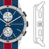 Watch chronograph with quadrant navy blue, gray box and Lanyard Nylon