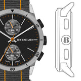 Watch chronograph with black dial, gray box and Lanyard Nylon