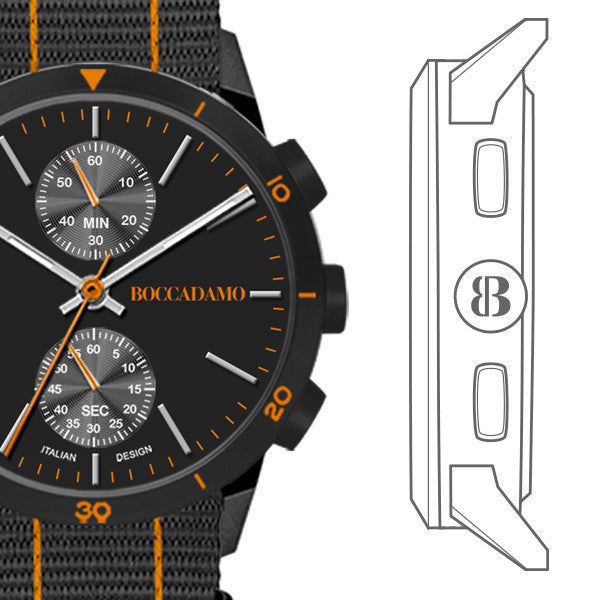 Watch chronograph with black dial and strap in nylon