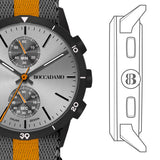 Watch chronograph with quadrant silver, black speaker and Lanyard Nylon