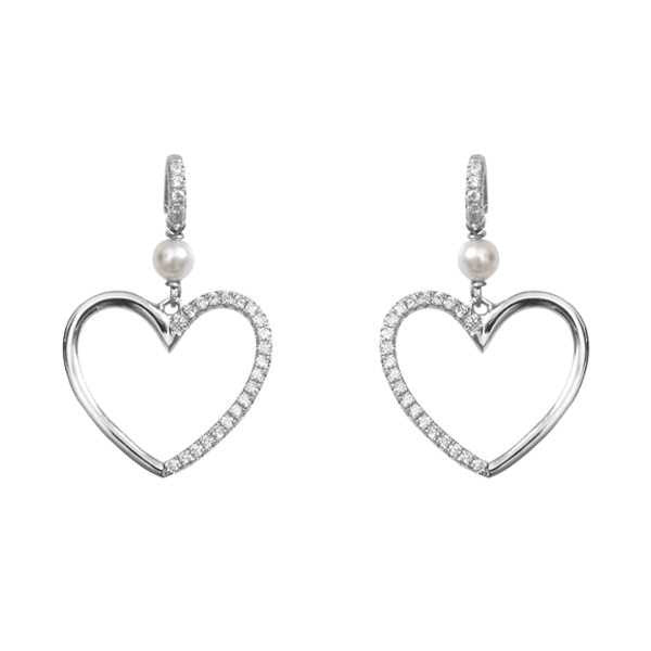 Silver earrings with Swarovski beads and heart of zircons