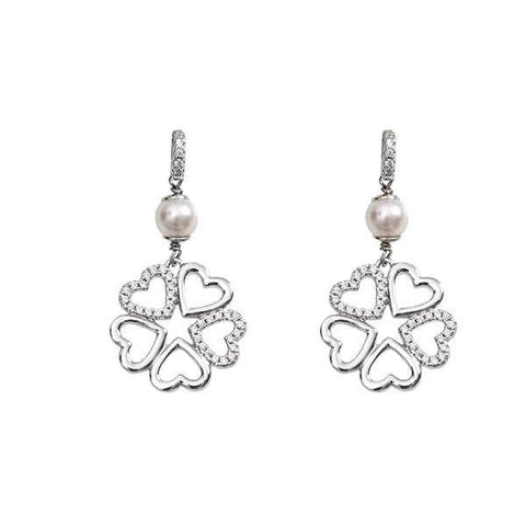 Silver earrings with Swarovski pearls and four-leaf clover pendant of zircons