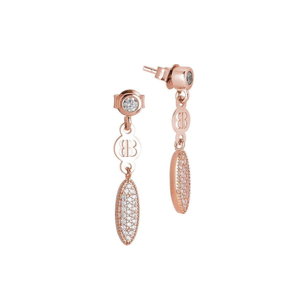 Plated earrings pink gold with pavè of zircons