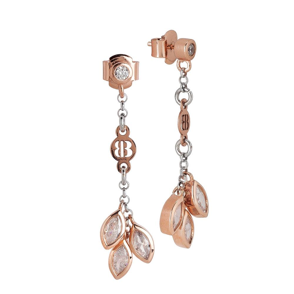 Earrings Gold plated pink with zircons to shuttles brilliant cut