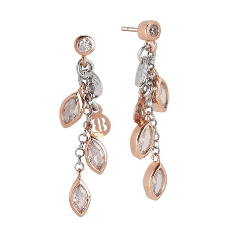 Related product : Pendant earrings gold plated pink with zircons to shuttles brilliant cut