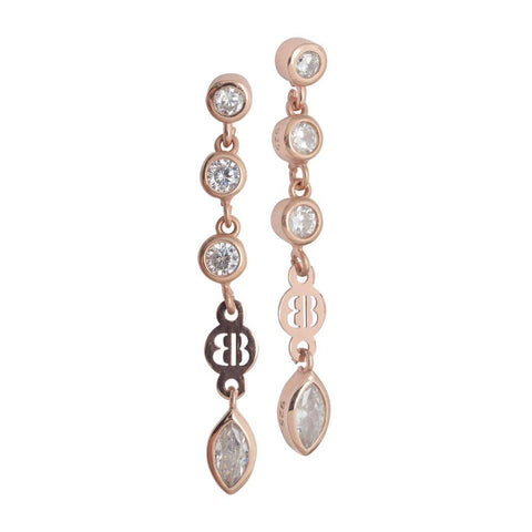 Related product : Earrings Gold plated pink with zircons diamond cut pendants