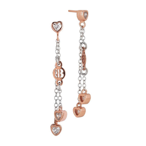 Related product : Earrings bicolor with sprigs of zircons in the heart