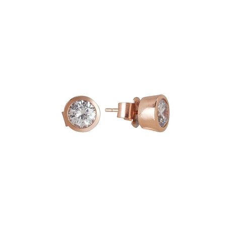 Related product : Orecchinini lobe with zircon diamond cut gold plated pink