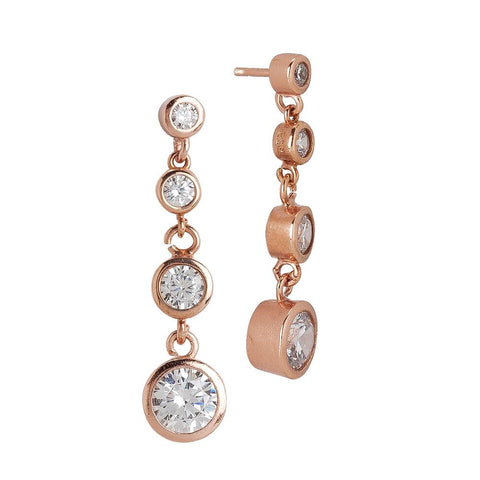Related product : Earrings Gold plated pink with pendent zircons degradè