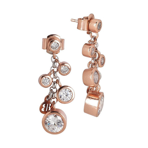 Related product : Cluster Earrings Gold plated pink with zircons diamond cut