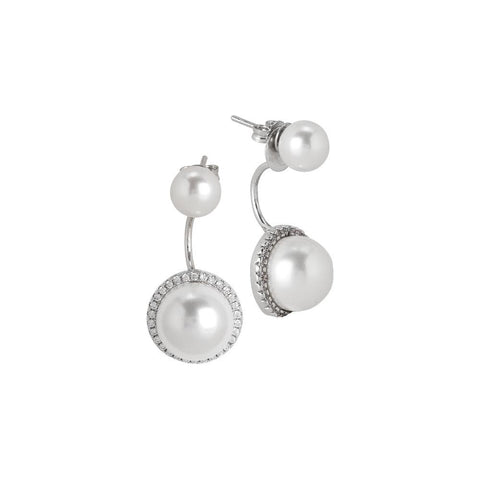 Related product : Earrings double pearl with pavè of zircons