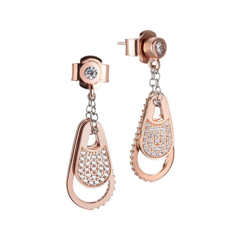 Silver earrings gold plated pink with zircons