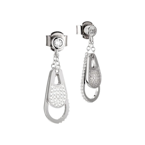 Silver earrings pendant with a drop in zircons