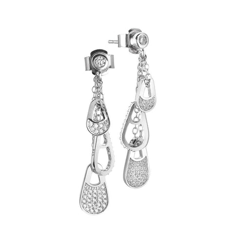 Pendant earrings with sprigs decorated in zircons