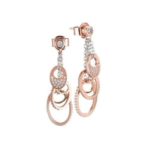 Earrings bicolor with pendant in pavè of zircons