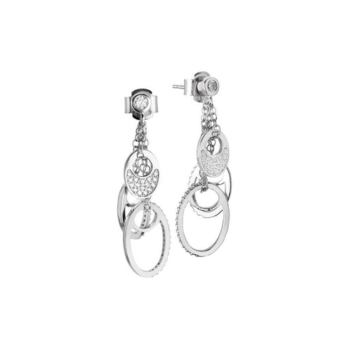 Earrings with pendant in pavè of zircons