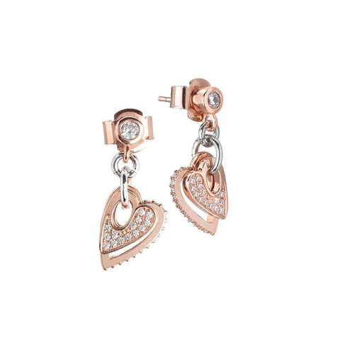 Earrings bicolor with pendent hearts of zircons