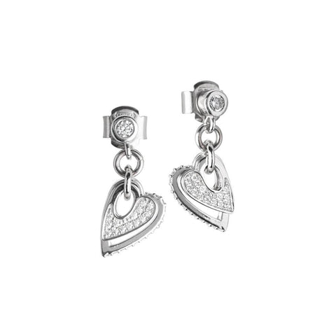 Earrings with pendent hearts of zircons