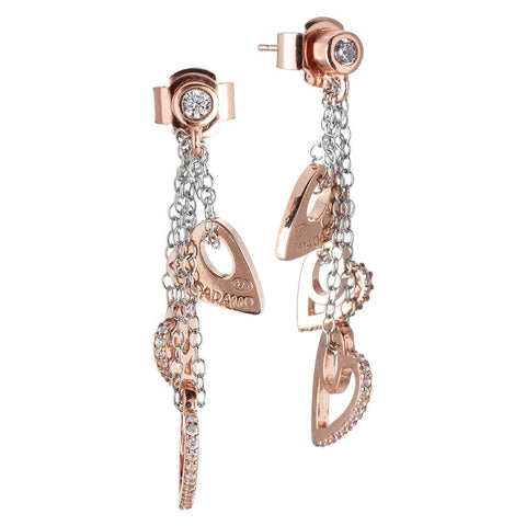 Earrings bicolor with sprigs of pendent hearts and zircons
