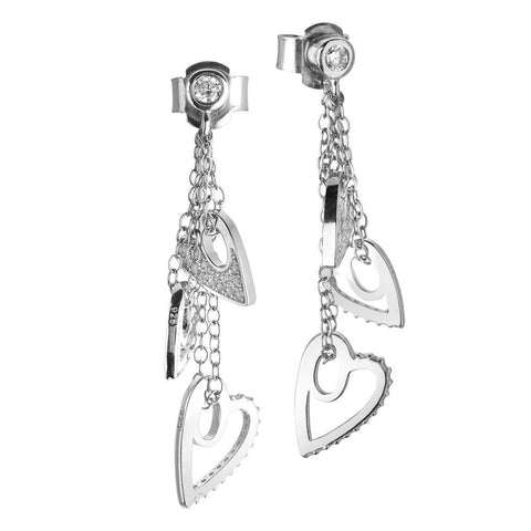Earrings with sprigs of pendent hearts and zircons