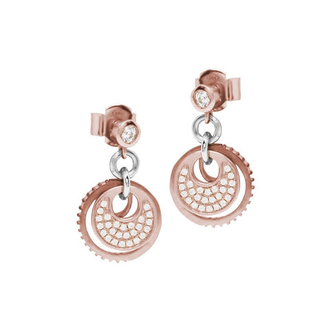 Earrings bicolor pendants with concentric element in zircons