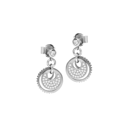 Earrings pendants with concentric element in zircons