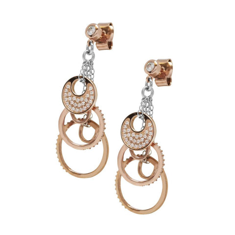 Earrings Gold plated pink with zircons and concentric circles pendants