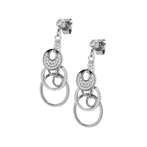 Earrings with zircons and concentric circles pendants