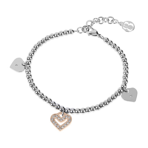 Bracelet bead bicolor with charm in the shape of a heart