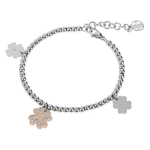 Bracelet bead bicolor with charm in the shape of a four-leaf clover