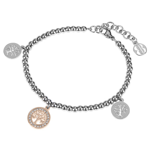 Bracelet bead bicolor with charm in the shape of a tree of life