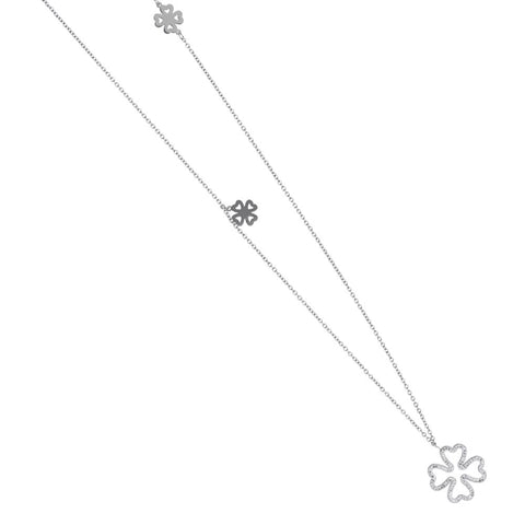 Necklace in steel with a pendant in the Flower Rhinestone