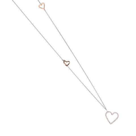 Necklace in pink steel with a pendant in the heart of rhinestones