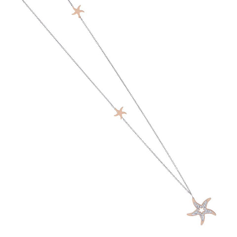 Necklace in pink steel pendant with a star with strass
